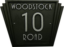 cast iron house number name sign Art deco style