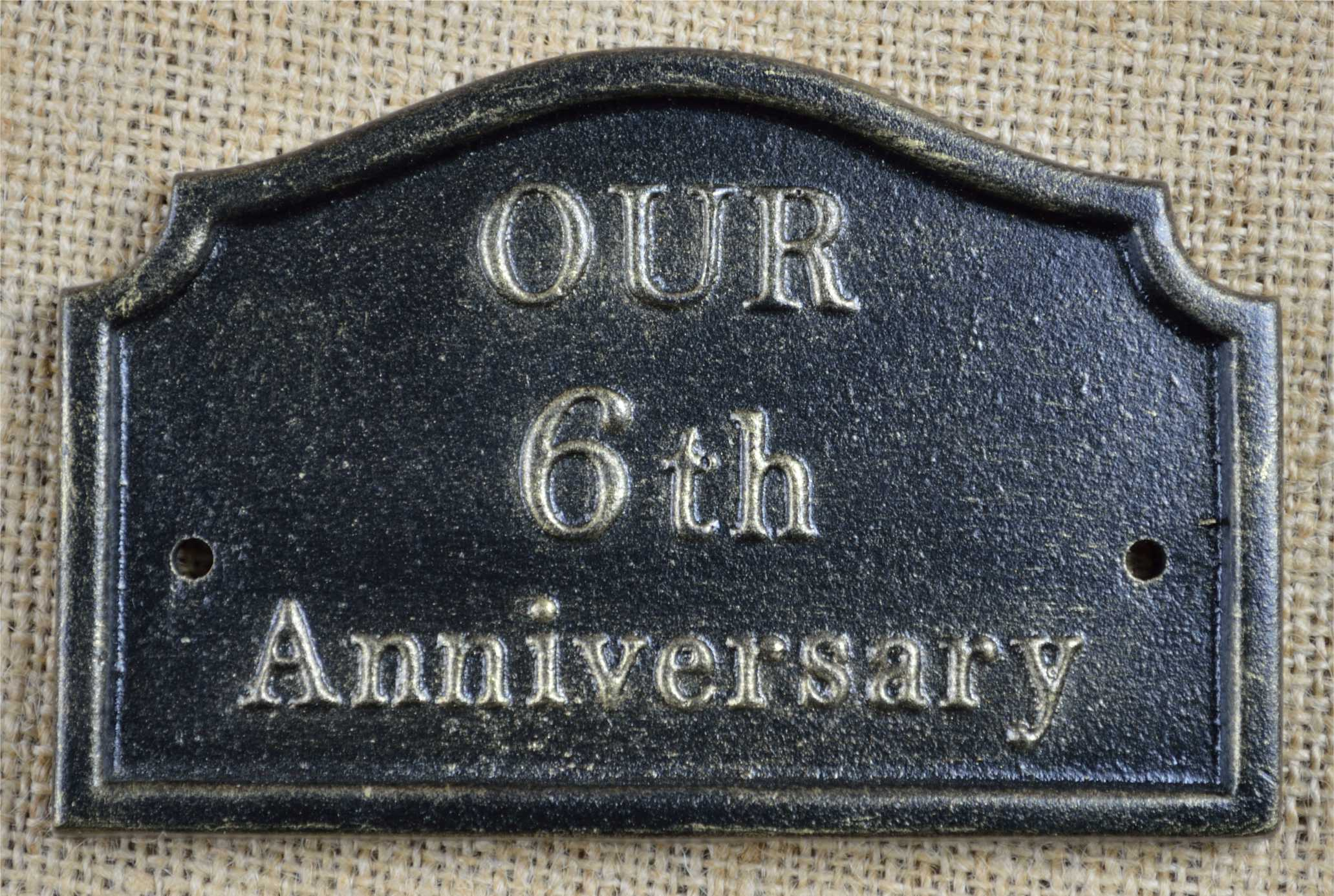 Iron Wedding Anniversary Gift: 6th Wedding Anniversary Plaque, Solid Cast Iron Gifts By