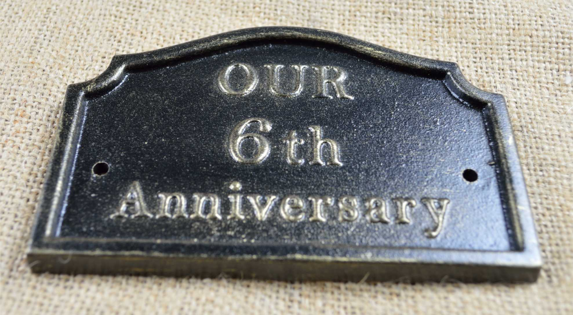 Iron Gifts For 6th Wedding Anniversary: 6th Wedding Anniversary Plaque, Solid Cast Iron Gifts By