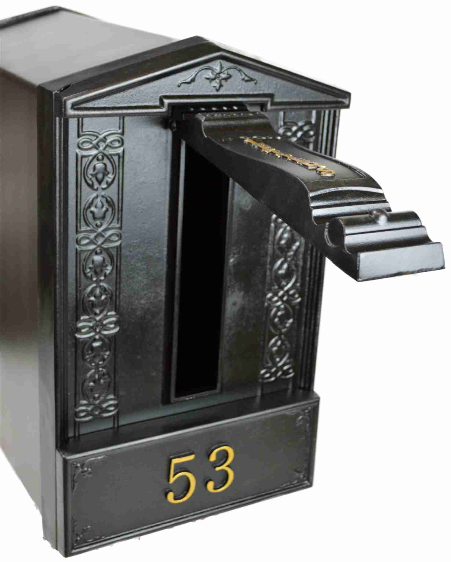 Freestanding ground post cast iron bantock letterbox by for Free standing