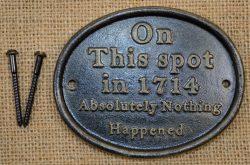 Novelty cast iron plaque
