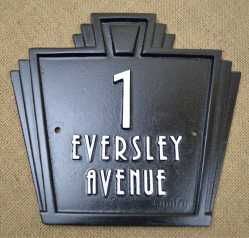 Art deco geometric design number /name sign