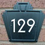 Art deco fan style house number sign
