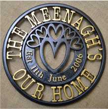 Circular round cast iron fret worked House Sign